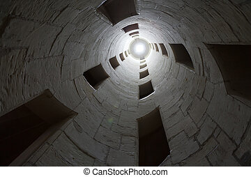 vanishing point of view of double-helix staircase in the...