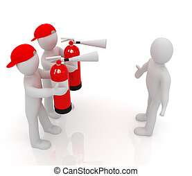 3d mans with red fire extinguisher. The concept of...