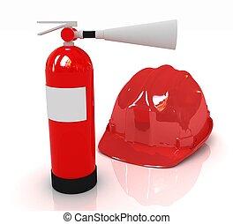 fuego, Extintor, rojo,  Hardhat