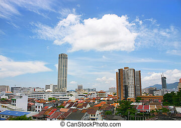 Cityscape - Komtar Tower and cityscape found in Georgetown,...