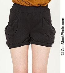 Fashion short pants - Young woman wearing sexy fashion short...