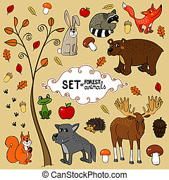 north forest animals - Autumn north forest animals set...