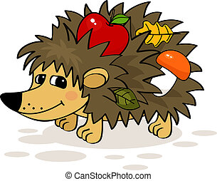 hedgehog - Smiling hedgehog with apple, mushroom and leaf...