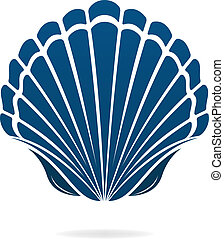 seashell - Scallop seashell of mollusks icon sign isolated...