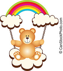Teddy Bear in Swing Cloud Rainbow - Scalable vectorial image...