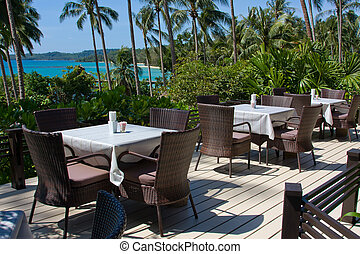 Outdoor restaurant at the beach