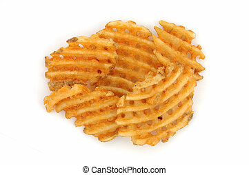 Criss cut fries in isolated white