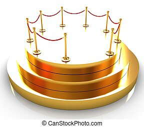 Gold podium 3d on a white background
