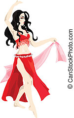 Belly dancer - Beautiful woman in red performs belly dance