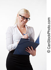 Businesswoman with folder and pen