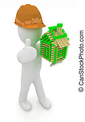 3d architect man in a hard hat with thumb up with log house...