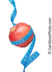 healthy eating - red apple and measuring tape on white...