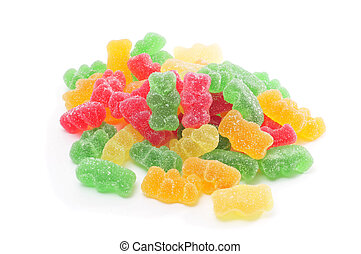gummy bears - a pile of gummy bears of different colors on a...