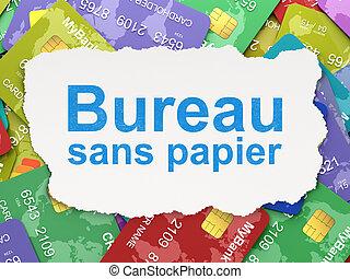 Finance concept: torn paper with words Bureau Sans...