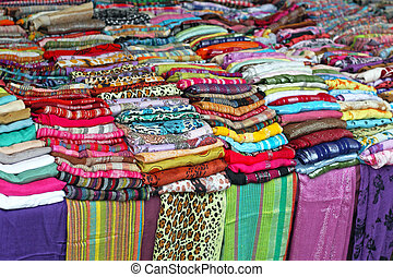 Shawls and scarves - Colourful scarves and shawls at market...