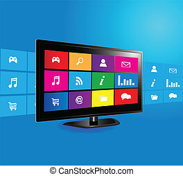 Smart TV - Internet television concept: colorful application...
