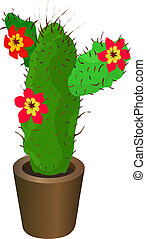 A cactus - A green cactus with bright red flowers and...