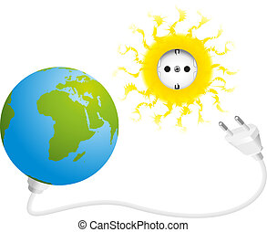 Solar Energy - Illustration of sun, earth, socket and plug,...