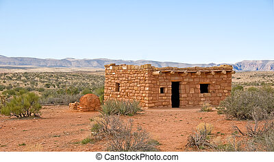 traditional native american dwelling - a traditional clay...