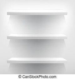 Illustration of white shelves with light + EPS10 - Detailed...