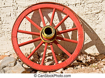 Red wagon wheel - a bright red, vintage wagon wheel from the...