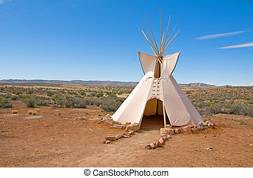 Tee Pee - a traditional native american tee pee on a desert...