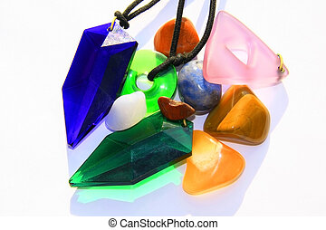 Crystals and chakra stones - Various crystals and stones on...