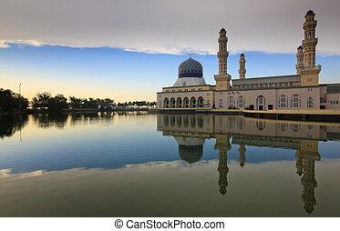 Kota Kinabalu mosque reflection at Sabah, Malaysia