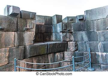 Inca Wall in ancient city of Coricancha Temple, Cusco,Peru,...