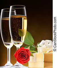 romantic valentine - rose, present and champagne for...