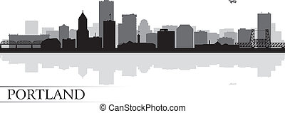 Portland city skyline silhouette background. Vector...