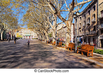 Figueres in Catalonia, Spain - Cityscape of Figueres - city...