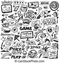 computers games - doodles set vector - computers games - set...