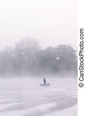lake bank  - a lake bank on a foggy october morning