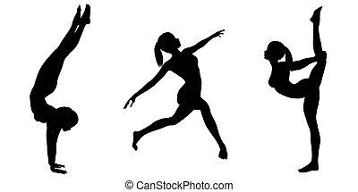 femininas, ginasta, silhuetas, -, 2