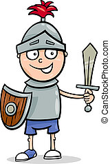 boy in knight costume cartoon