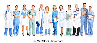 Group of medical doctors Isolated on white background
