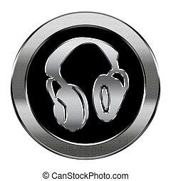 headphones icon silver, isolated on white background.
