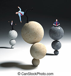 business acrobat - business people in balance on stone...