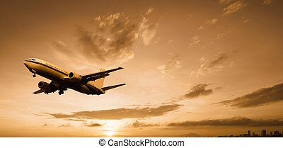 aeroplane departed at dusk with dramatic sky