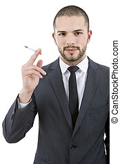 smoker - businessman smoking isolated on a white background