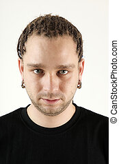 Boy with braids - Young man with braids portrait isolated on...