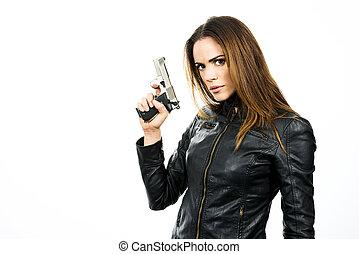bonito, mulher, fundo, jovem, arma, segurando, branca