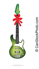 Beautiful Green Electric Guitar with Red Ribbon
