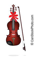 Beautiful Brown Violin on White Background