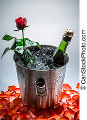 Closeup of red rose and cold champagne
