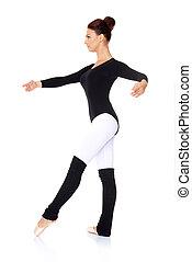 Ballet dancer practising her steps