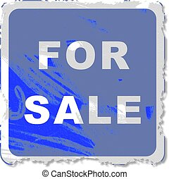 grunge for sale sign - Grunge style for sale sign isolated...