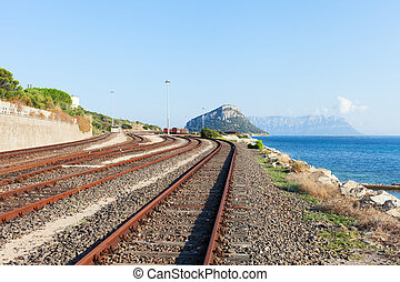 Railway at Mediterranean sea, Sardinia, Italy - Railway at...