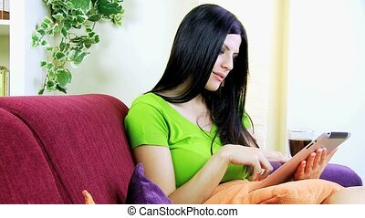 Businesswoman working at home - Happy woman working with...